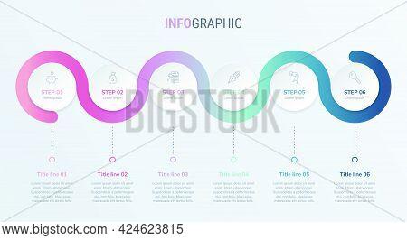 Timeline Infographic Design Vector. 6 Options, Circle Workflow Layout. Vector Infographic Timeline T
