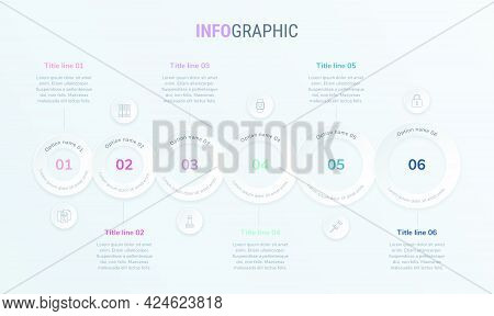 Vintage Colors Vector Infographics Timeline Design Template With Rounded Elements. Content, Schedule