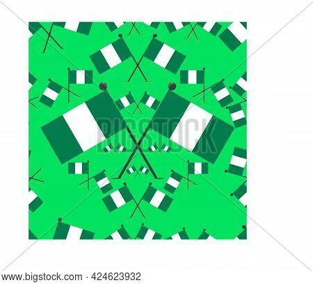 Vector Illustration Of Pattern Nigeria Flags And Green Colors Background
