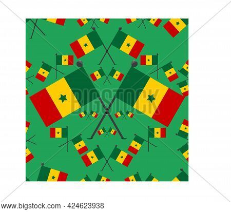 Vector Illustration Of Pattern Senegal Flags And Green Colors Background