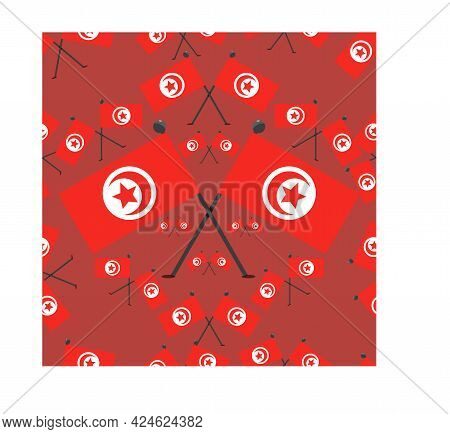 Vector Illustration Of Pattern Tunisia Flags And Red Colors Background