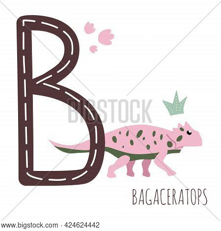 Bagaceratops.letter B With Reptile Name.hand Drawn Cute Herbivores Dinosaur.educational Prehistoric