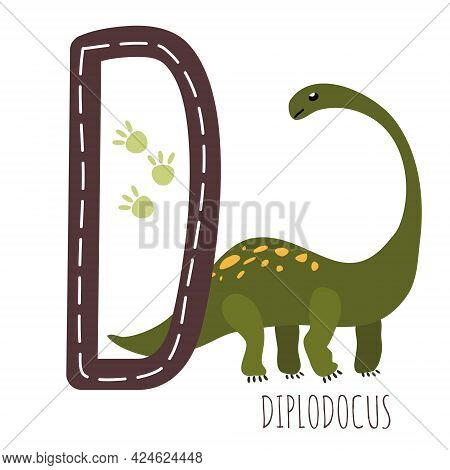 Diplodocus.letter D With Reptile Name.hand Drawn Cute Herbivores Dinosaur.educational Prehistoric Il