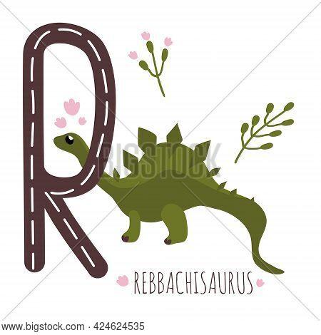 Rebbachisaurus.letter R With Reptile Name.hand Drawn Cute Herbivores Dinosaur.educational Prehistori