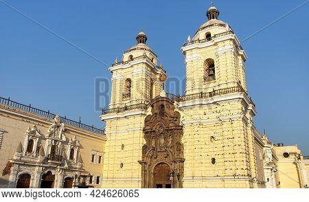 Convento De San Francisco, Panoramic View Of San Francisco Church And Monastery In Lima, Peru