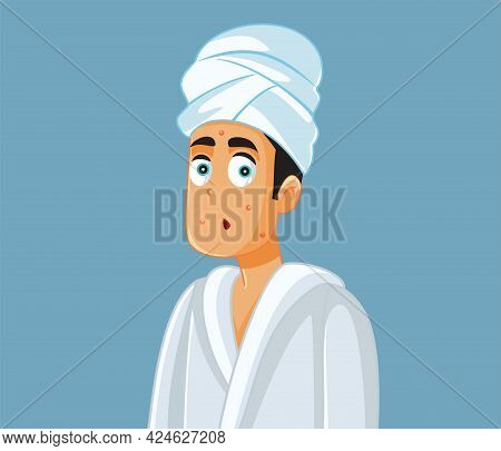 Man Dealing With Adult Acne Vector Illustration