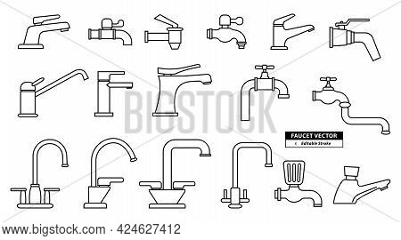 Set Of Realistic Faucet Icon With Editable Stroke To Modify Or Faucet Icon Sign Bathroom Symbol Line
