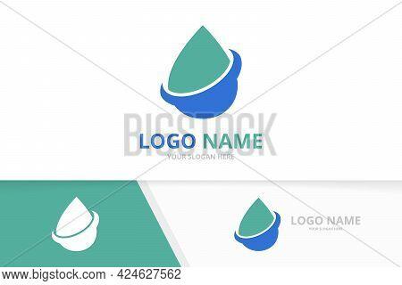 Vector Water Drop Logo Combination. Pure Spa Logotype Design Template.