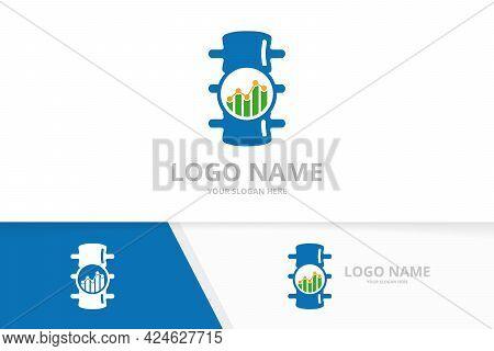 Vector Spine And Graph Logo Combination. Vertebral Column And Diagram Logotype Design Template.