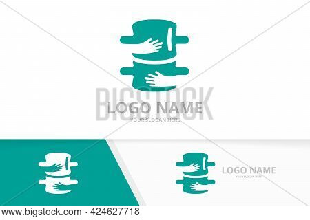 Vector Spine And Embrace Logo Combination. Vertebral Column And Hands Logotype Design Template.