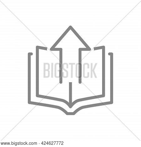 Open Book With Up Arrow Line Icon. Loading, Online Library Symbol