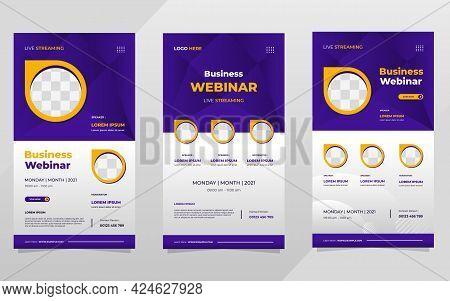 Set Of Digital Marketing Webinar Social Media Stories Post Templates On Purple Background And Circle
