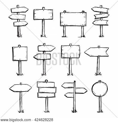 Hand Drawn Set Of Road Direction Sign. Doodle Sketch Style. Sign With Wood Plank. Grunge Vector Illu