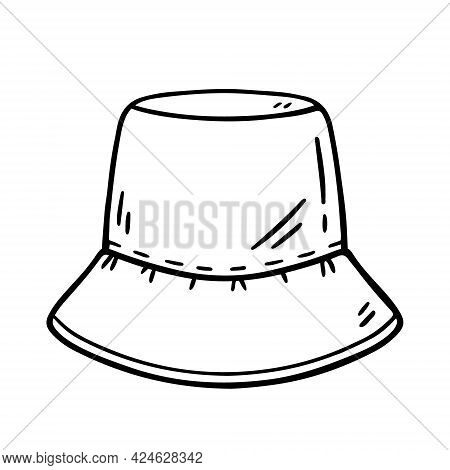 Panama Hat Isolated On White Background. Summer Headwear For Sun Protection. Vector Hand-drawn Illus