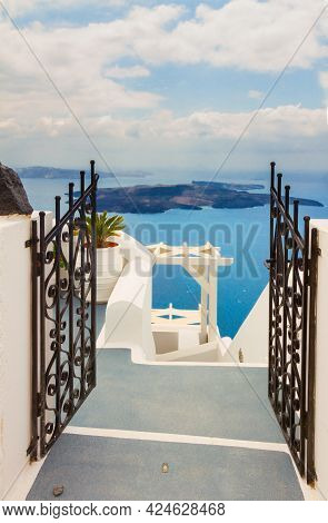 View Of Volcano Caldera With Gate And Stairs, Santorini Island, Greece