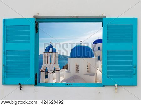Window With View Of Classical Church With Blue Domes , Oia, Santorini, Greece