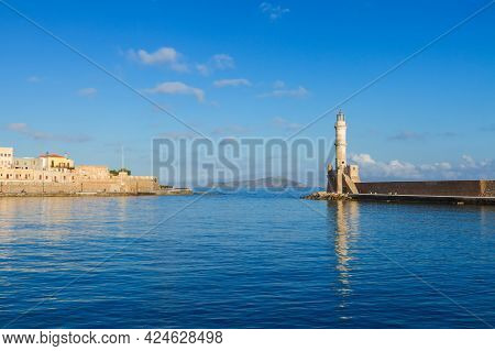 Bay Of Chania With Lighthouse At Sunny  Summer Day, Crete, Greece