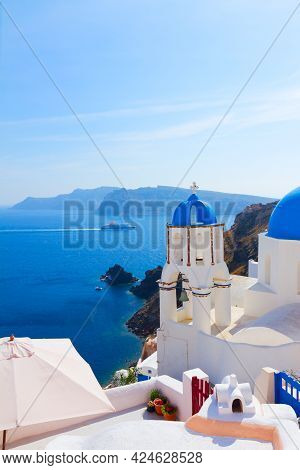 View Of Caldera With Stairs And Bellfry With Blue Dome, Oia, Santorini, Greece