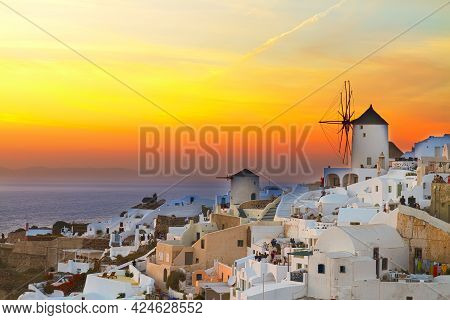 Famouse Golden Sunset Of Oia With Windmill, Santorini, Toned