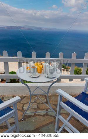 Fresh Greek Breakfast  By Seaside With Caldera View, Santorini, Greece
