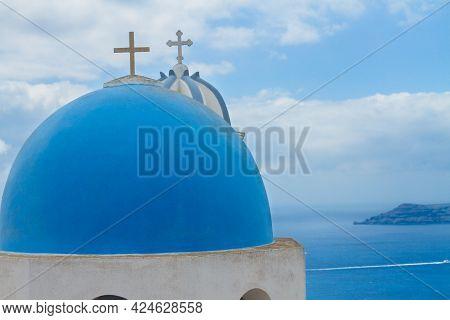Blue Dome Against Volcano Caldera, Beautiful Details Of Santorini Island, Greece