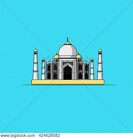 Taj Mahal Cartoon Vector Icon Illustration. Famous Building Traveling Icon Concept Isolated Premium