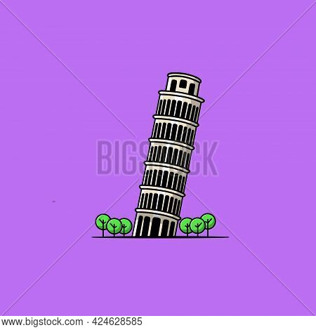 Landmark Of Pisa Tower Cartoon Vector Icon Illustration. Famous Building Traveling Icon Concept Isol