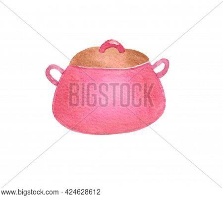 Saucepan. Pink Pot. Kitchen Utensils, Cooking Utensils. The Illustration Is Hand-drawn In Watercolor