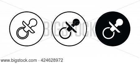 Baby Pacifier Icon, Dummy, Soother, Teether. Nipple Icons Button, Vector, Sign, Symbol, Logo, Illust