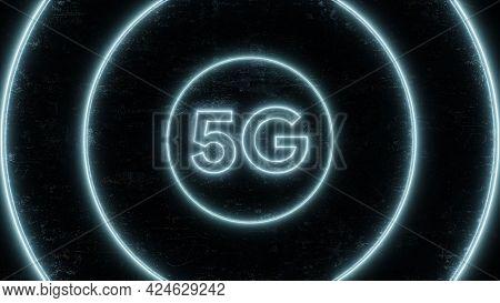 5g Mobile Network Technology Background. Internet Of Next Generation. Neon Futuristic . 3d Illustrat