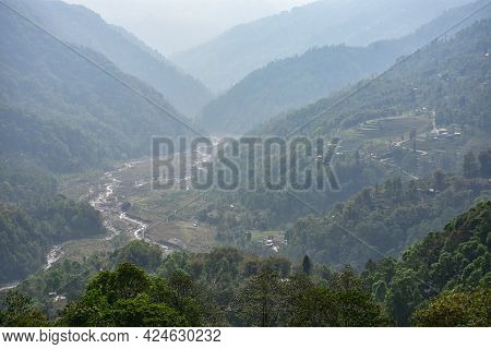 The Mystique View Of Himalayan River Gorge And River Trail.
