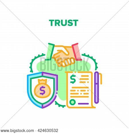 Trust In Deal Vector Icon Concept. Trust In Deal And Money Protection, Successful Agreement Signing