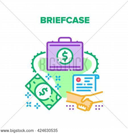 Briefcase Bag Vector Icon Concept. Briefcase Bag For Carrying And Storage Money Dollar Banknote, Dip