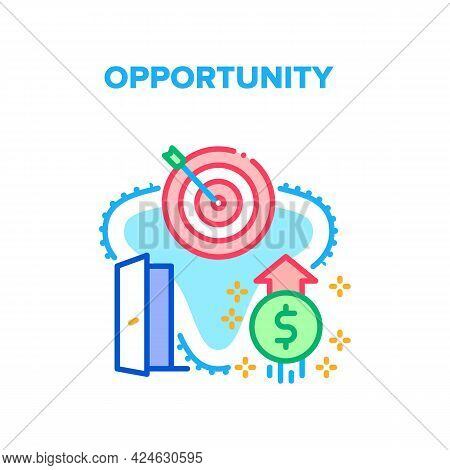 Opportunity Vector Icon Concept. Financial Opportunity And Strategy For Open Door, Earning Money Wea