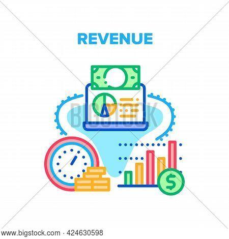 Revenue Finance Vector Icon Concept. Revenue Finance, Annual Banking Deposit Profit, Salary Rate Inc