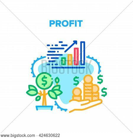 Profit Growing Vector Icon Concept. Money Profit Growing And Monitoring Increase Finance Chart. Grow