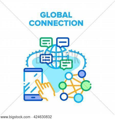 Global Connection Internet Vector Icon Concept. Global Connection Internet Technology For Communicat