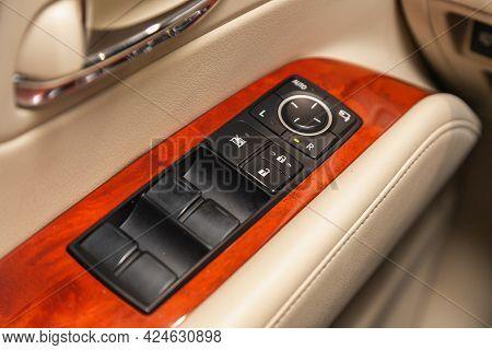 Novosibirsk, Russia - June 22, 2021: Lexus Rx450h, Closeup Of A Door Control Panel In A New Car. Arm