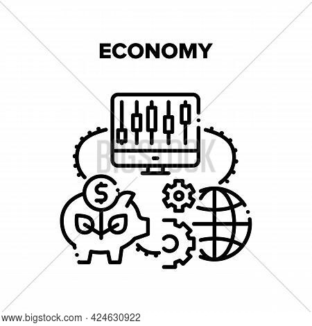 Economy Finance Vector Icon Concept. Economy Finance World Process And Online International Trade Ma