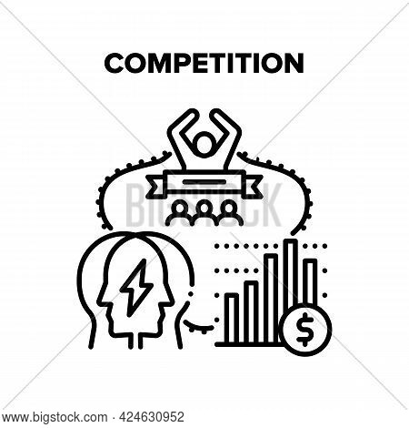 Competition Vector Icon Concept. Office Workers Managers Profit And Success Deal Competition. Corpor