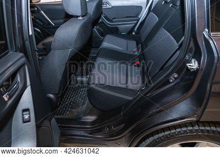 Novosibirsk, Russia - June 22, 2021: Subaru Forester, Rear Seat For Passengers In Black Textile. Com
