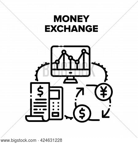 Money Exchange Vector Icon Concept. Calculating And Receipt Of Money Exchange, Researching And Monit