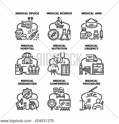 Medical Science Set Icons Vector Illustrations. Medical Science And Researcher, Hospital Device For