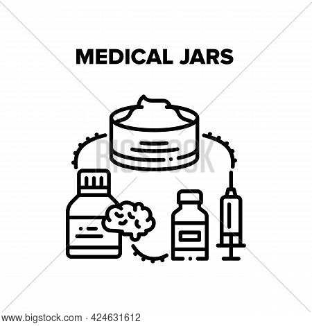 Medical Jars Vector Icon Concept. Medical Jars For Natural Cream And Vitamin Pills For Brain, Syring