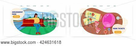 Amusement Park Landing Page Design, Website Banner Vector Template Set. Carnival, Funfair. Entrance