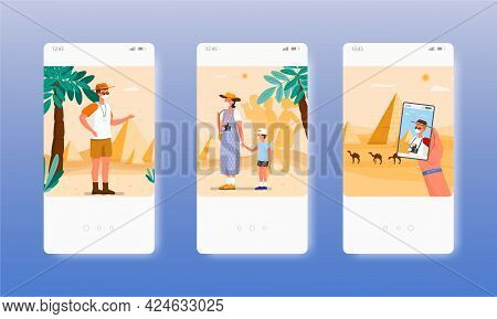 Guide Tour. Excursion To Egyptian Pyramids. Mobile App Screens, Vector Website Banner Template. Ui,