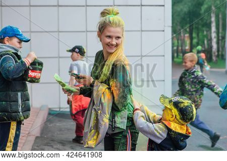 Novokuznetsk, Kemerovo Region, Russia - June 05, 2021 :: Children With Colorful Faces Painted With H