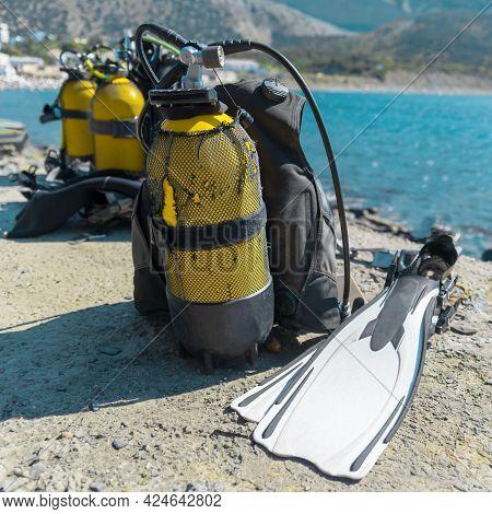 Scuba Diving Gear On Beach. Dive Gear. Diving Sport. Underwater Diving Equipment.