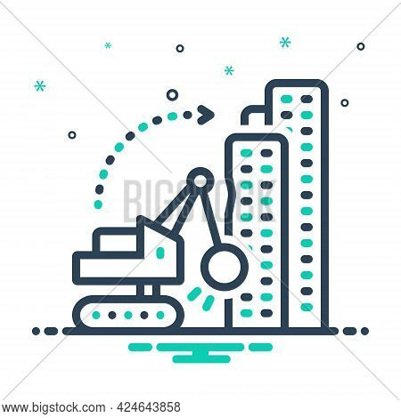 Mix Icon For Dismantling  Building  Demolition Work Hammer Machinery