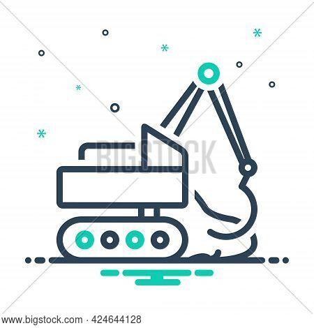 Mix Icon For Earthmoving  Excavator Digger Machine Development Vehicle